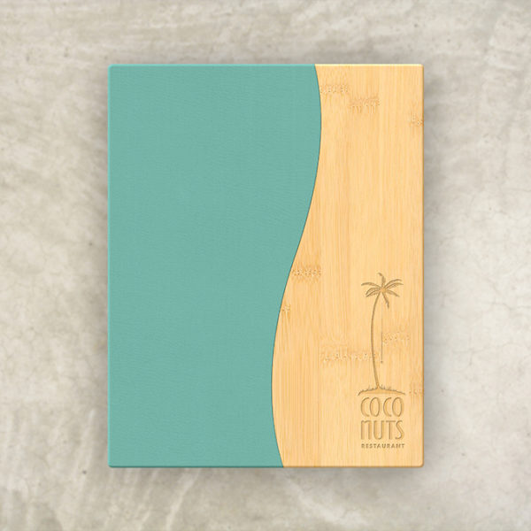 Pool Menu Board Bamboo and Turquoise Leather Thumbnail