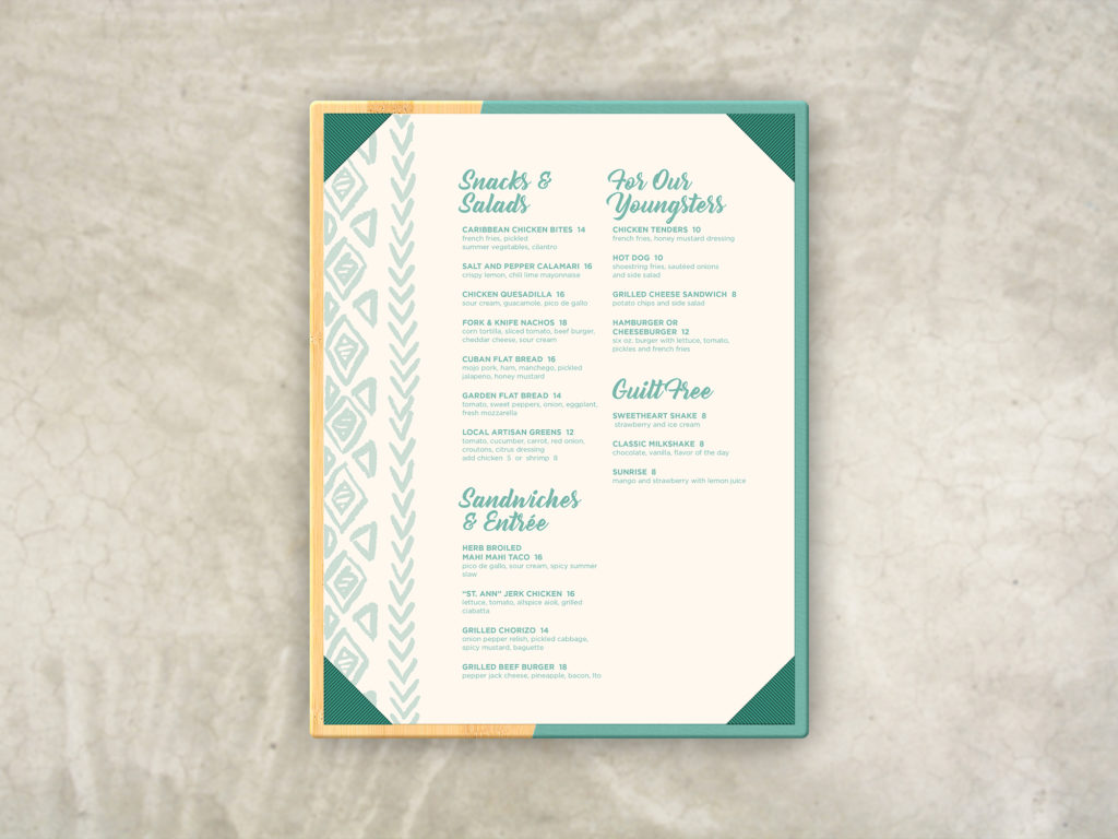 Wood and Turquoise Leather Pool Menu Board with beach-themed insert