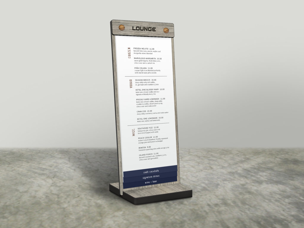 Table Stand Drink Menu