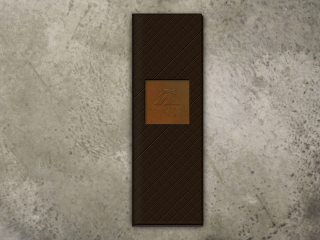 Leather Menu Cover with copper inset and embossed logo