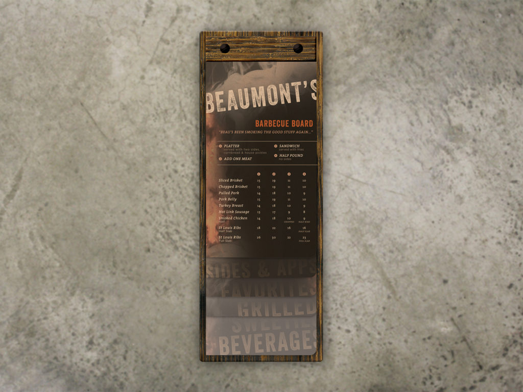 Torched Menu Board with Staggered Inserts
