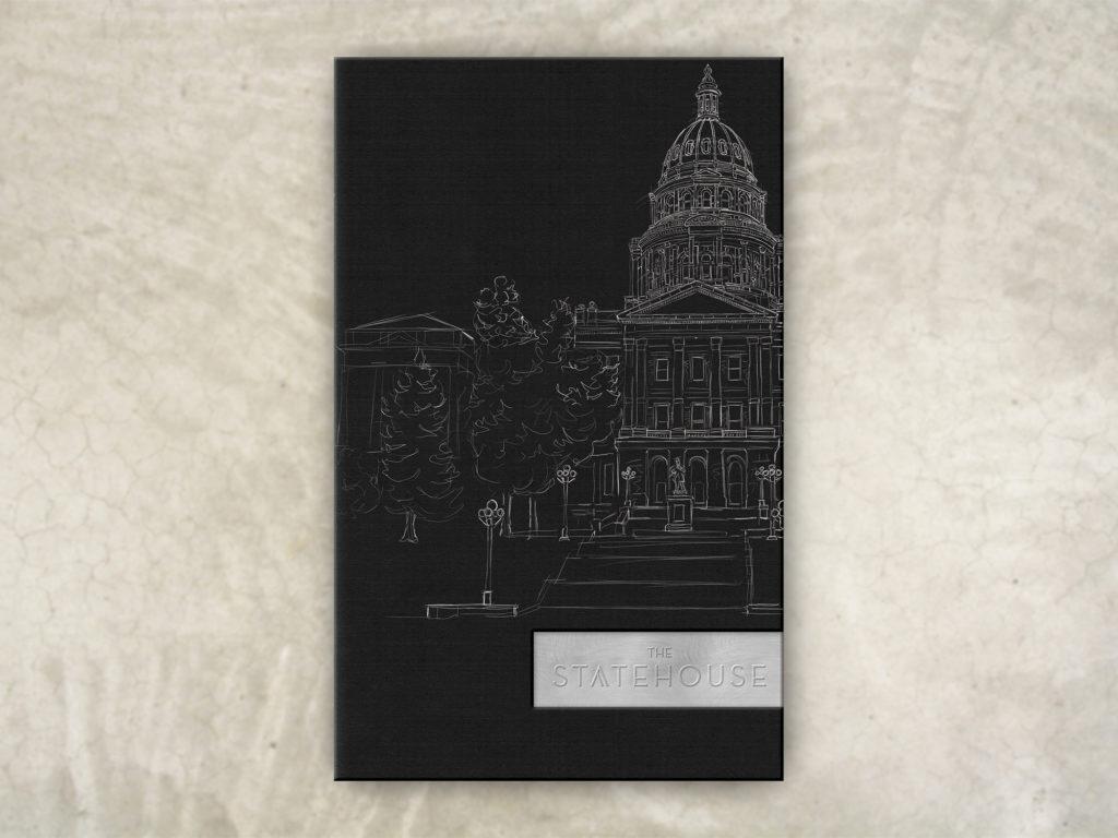 custom art building on menu cover