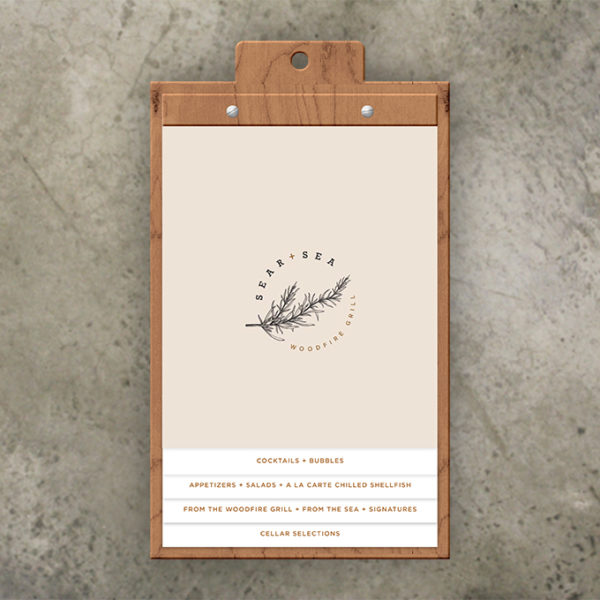 wood menu board holds staggered inserts screwposts