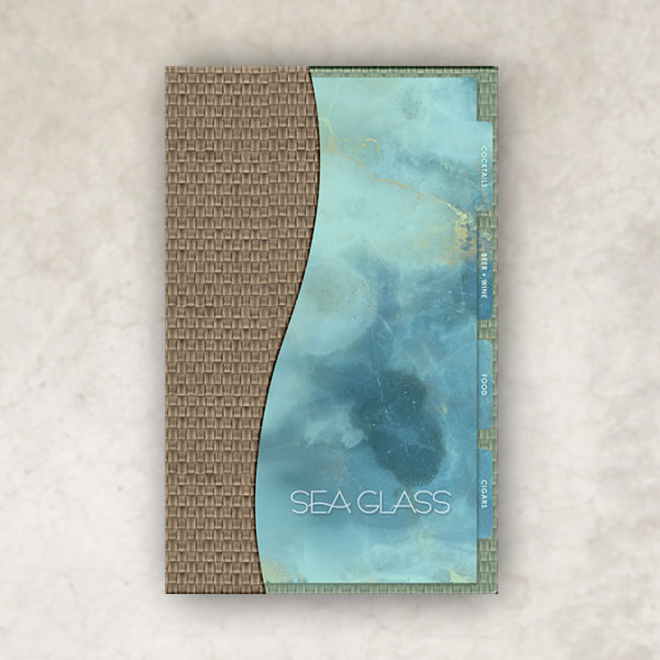 acrylic sea glass inspired menu cover binder