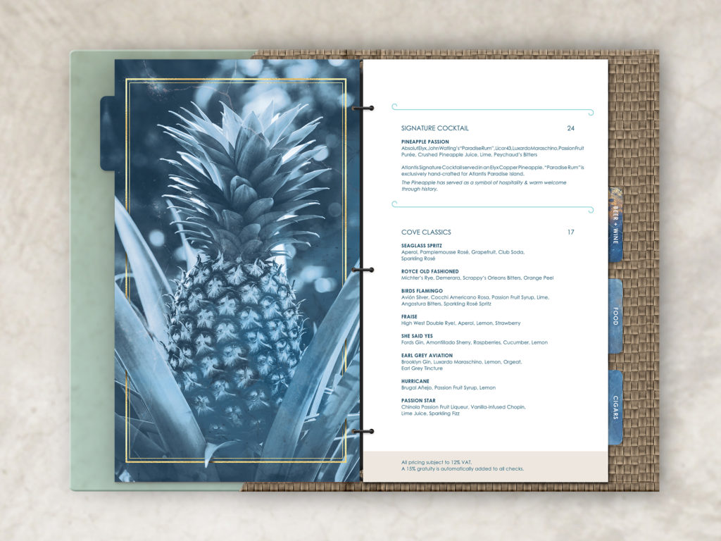 acrylic menu cover with tab cut inserts