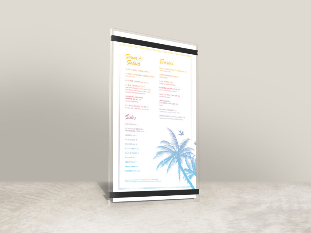 acrylic tropical pool menu with bands