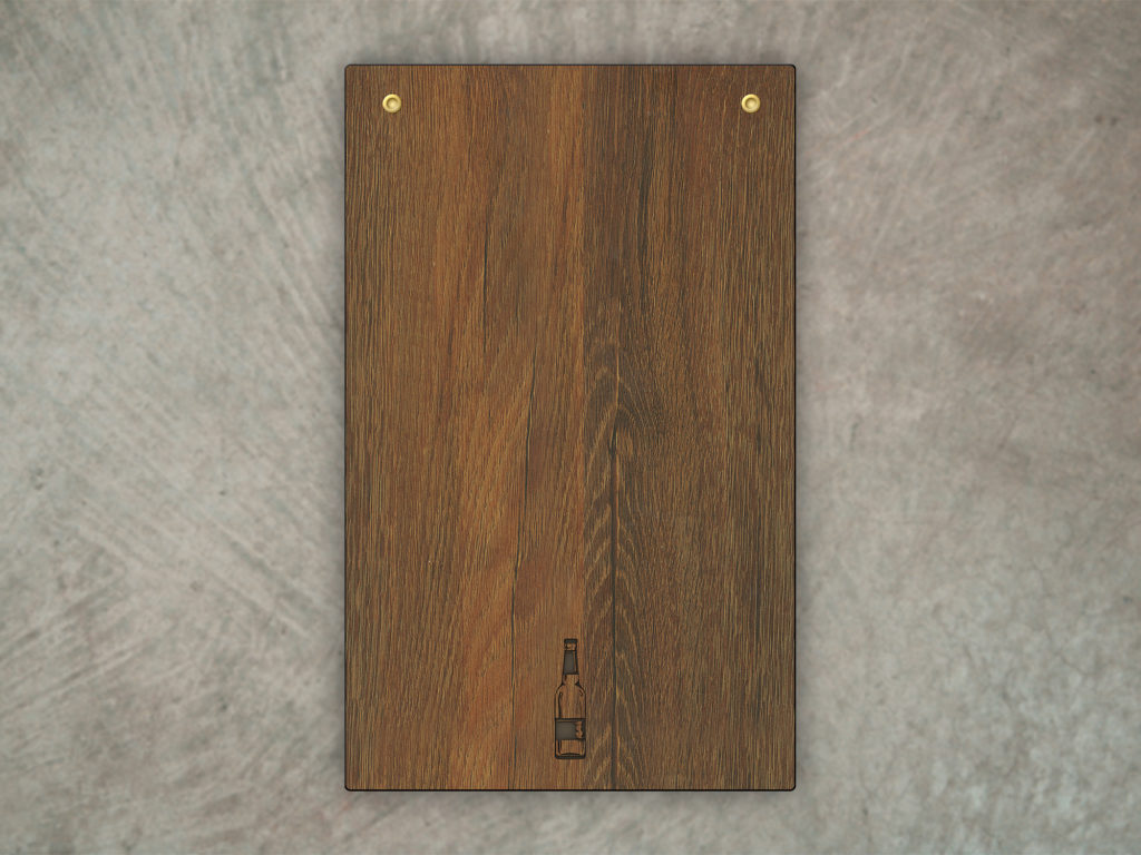 Rustic Industrial Menu Board Woodgrain and brass screwposts