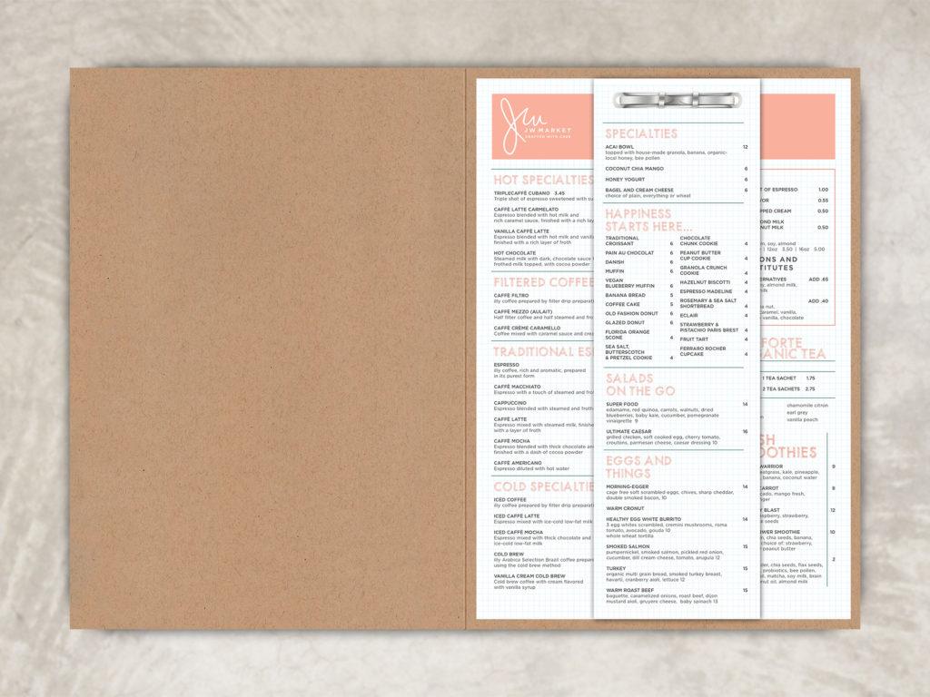 Handcrafted Menu Folder for a bright organic cafe