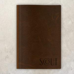 Leather Menu with wood saloon menu