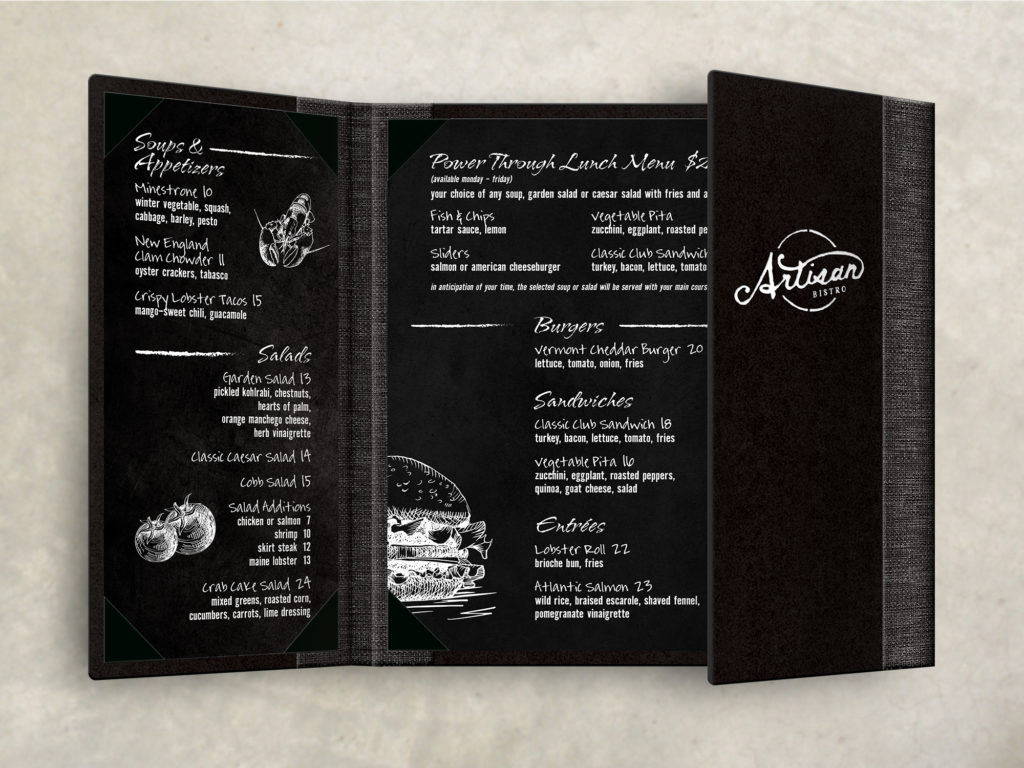black gatefold menu upscale chalkboard