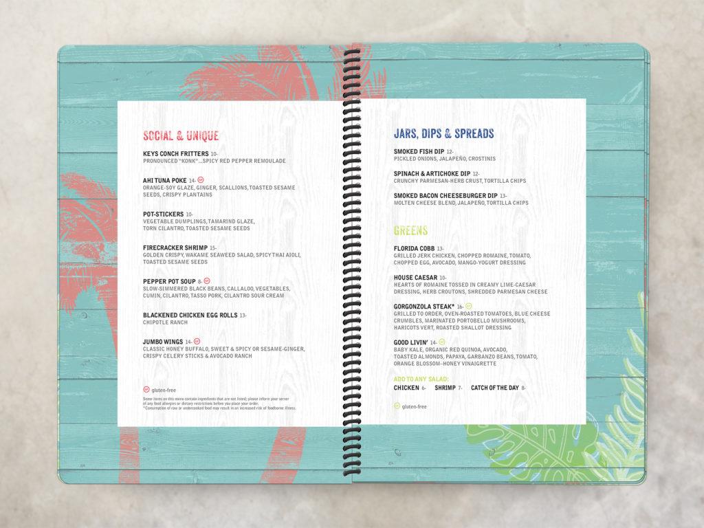 spiral bound rustic beach bar menu